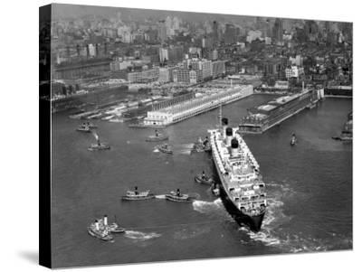 Ocean Liner With Tug Boats in NY Harbor-George Marks-Stretched Canvas Print