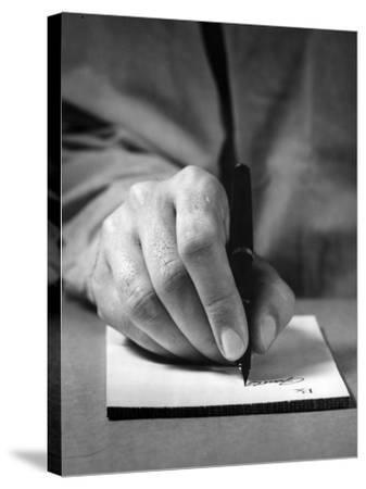 Physician's Hand Writing Prescription-George Marks-Stretched Canvas Print