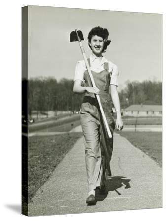 Woman With Hoe Walking on Path, Portrait-George Marks-Stretched Canvas Print