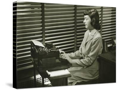 Secretary Typing on Typewriter in Office Photographic Print by George Marks  | Art com