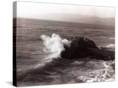 Sea Waves Crashing Against Rock-George Marks-Stretched Canvas Print