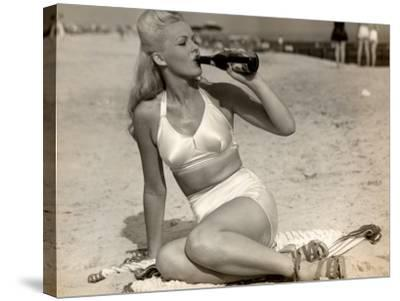 Woman in Swimsuit Having a Soda-George Marks-Stretched Canvas Print