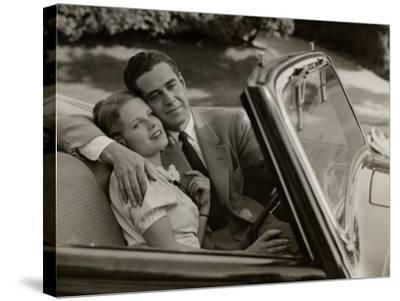 Couple in Convertible Car-George Marks-Stretched Canvas Print