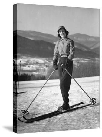 Female Skier-George Marks-Stretched Canvas Print