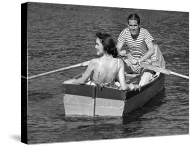 Couple in Row-Boat-George Marks-Stretched Canvas Print