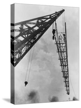 Crane at Work--Stretched Canvas Print