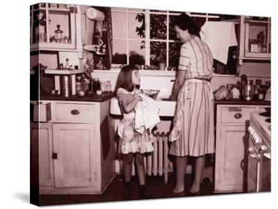 Mother and Daughter (8-10) Washing and Wiping Dishes--Stretched Canvas Print