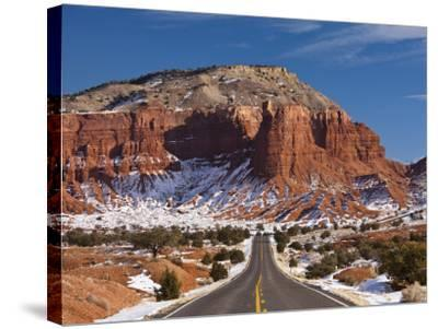 Route 24 in Winter, Capitol Reef National Park, Torrey, Utah, USA-Walter Bibikow-Stretched Canvas Print