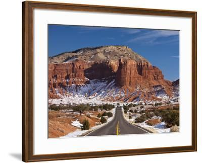 Route 24 in Winter, Capitol Reef National Park, Torrey, Utah, USA-Walter Bibikow-Framed Photographic Print