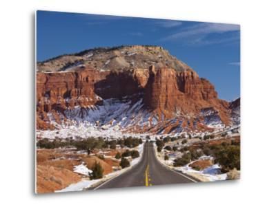 Route 24 in Winter, Capitol Reef National Park, Torrey, Utah, USA-Walter Bibikow-Metal Print