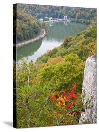 Kanawha River Overlook, Hawks Nest State Park, Anstead, West Virginia, USA-Walter Bibikow-Stretched Canvas Print