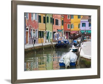 Colorful Burano City Homes Reflecting in the Canal, Italy-Terry Eggers-Framed Photographic Print