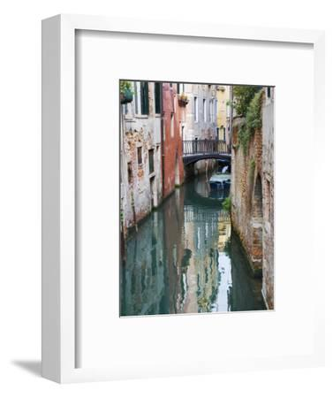 Reflections and Small Bridge of Canal of Venice, Italy-Terry Eggers-Framed Premium Photographic Print