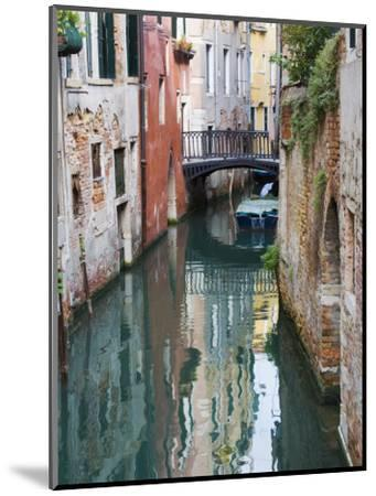 Reflections and Small Bridge of Canal of Venice, Italy-Terry Eggers-Mounted Premium Photographic Print