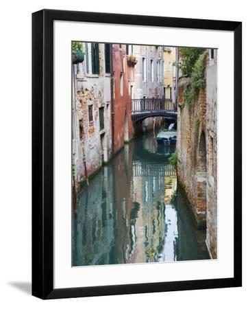 Reflections and Small Bridge of Canal of Venice, Italy-Terry Eggers-Framed Photographic Print