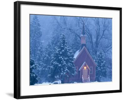 Historic Yosemite Valley Chapel During Heavy Snowfall in Yosemite National Park, California, USA-Chuck Haney-Framed Photographic Print