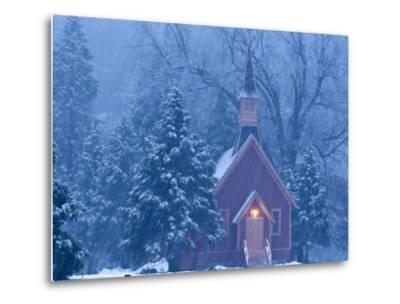 Historic Yosemite Valley Chapel During Heavy Snowfall in Yosemite National Park, California, USA-Chuck Haney-Metal Print