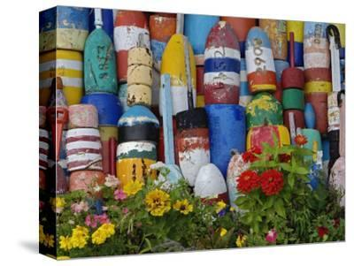 Colorful Buoys on Wall, Rockport, Massachusetts, USA-Adam Jones-Stretched Canvas Print
