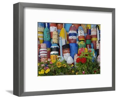Colorful Buoys on Wall, Rockport, Massachusetts, USA-Adam Jones-Framed Photographic Print