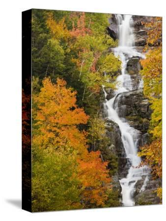 Silver Cascade Waterfall in White Mountains in Autumn, Crawford Notch State Park, New Hampshire-Jerry & Marcy Monkman-Stretched Canvas Print