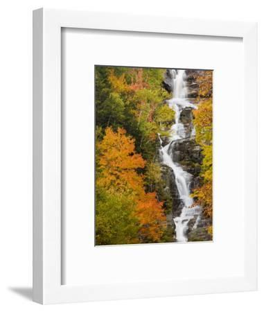 Silver Cascade Waterfall in White Mountains in Autumn, Crawford Notch State Park, New Hampshire-Jerry & Marcy Monkman-Framed Photographic Print