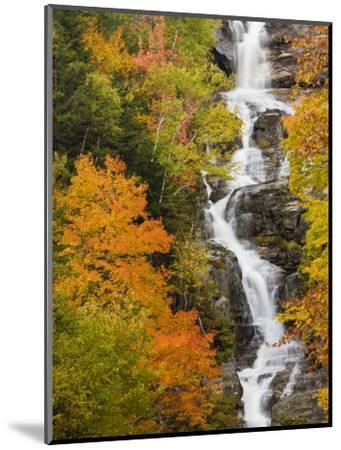 Silver Cascade Waterfall in White Mountains in Autumn, Crawford Notch State Park, New Hampshire-Jerry & Marcy Monkman-Mounted Photographic Print