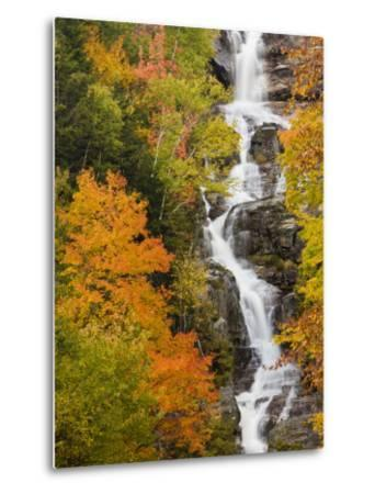 Silver Cascade Waterfall in White Mountains in Autumn, Crawford Notch State Park, New Hampshire-Jerry & Marcy Monkman-Metal Print