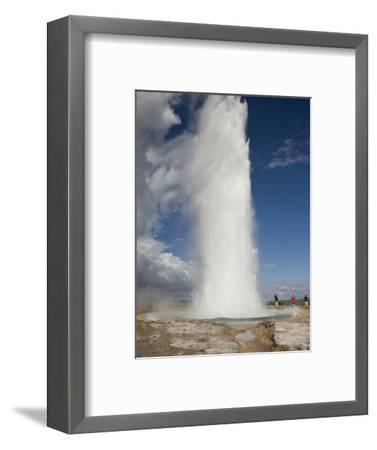 Tourists Watch Strokkur Geyser Erupting, Geysir, Iceland-Don Grall-Framed Photographic Print
