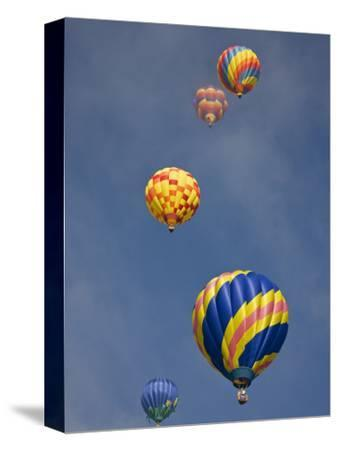 Colorful Hot Air Balloons Decorate the Morning Sky, Colorado Springs, Colorado, USA-Don Grall-Stretched Canvas Print