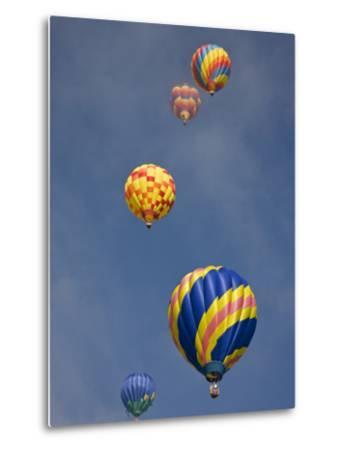 Colorful Hot Air Balloons Decorate the Morning Sky, Colorado Springs, Colorado, USA-Don Grall-Metal Print