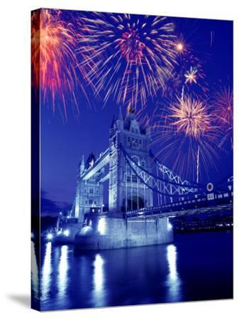 Fireworks Over the Tower Bridge, London, Great Britain, UK-Jim Zuckerman-Stretched Canvas Print