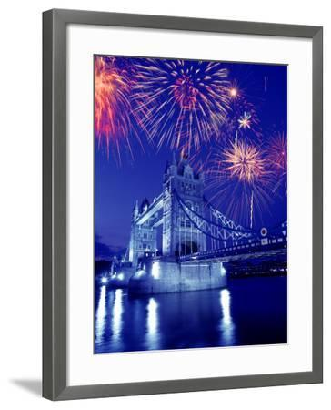 Fireworks Over the Tower Bridge, London, Great Britain, UK-Jim Zuckerman-Framed Photographic Print