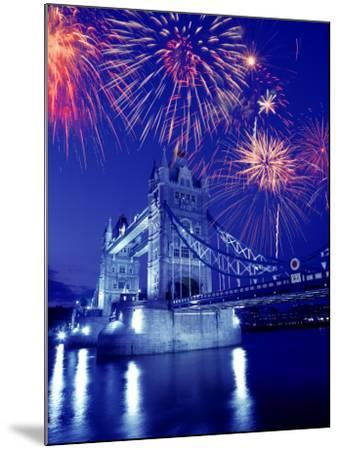 Fireworks Over the Tower Bridge, London, Great Britain, UK-Jim Zuckerman-Mounted Photographic Print