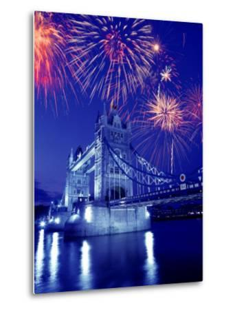 Fireworks Over the Tower Bridge, London, Great Britain, UK-Jim Zuckerman-Metal Print