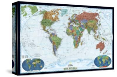 World Political Map, Decorator Style-National Geographic Maps-Stretched Canvas Print