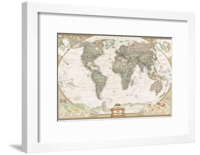 World Political Map, Executive Style-National Geographic Maps-Framed Art Print
