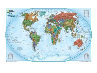 World Explorer Map-National Geographic Maps-Framed Premium Giclee Print