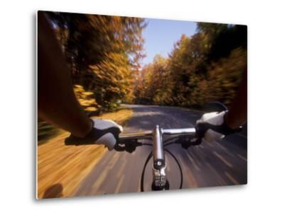 Detail of Cyclist View while Riding on the Roads--Metal Print