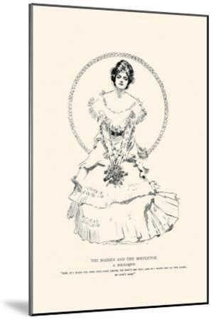 The Maiden And the Mistletoe-Charles Dana Gibson-Mounted Art Print
