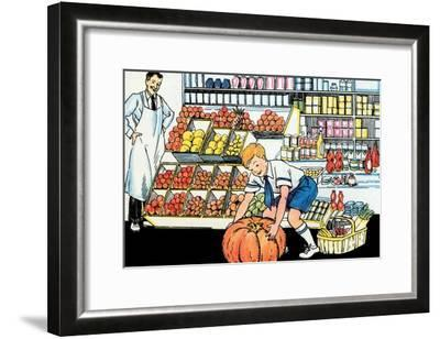 Selecting a Pumpkin-Julia Letheld Hahn-Framed Art Print