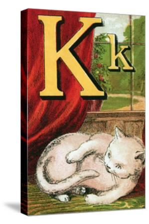 K For the Kitten That Plays With Its Tail-Edmund Evans-Stretched Canvas Print