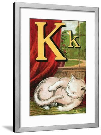 K For the Kitten That Plays With Its Tail-Edmund Evans-Framed Art Print