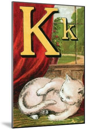 K For the Kitten That Plays With Its Tail-Edmund Evans-Mounted Art Print