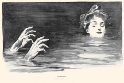 In the Swim-Charles Dana Gibson-Stretched Canvas Print