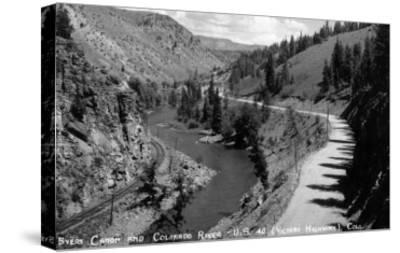 Colorado - Byers Canyon and Colorado River-Lantern Press-Stretched Canvas Print