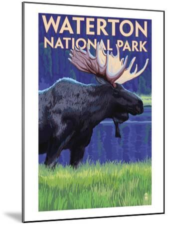 Waterton National Park, Canada - Moose at Night-Lantern Press-Mounted Art Print