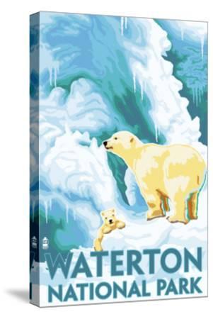 Waterton National Park, Canada - Polar Bear & Cub-Lantern Press-Stretched Canvas Print