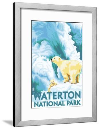 Waterton National Park, Canada - Polar Bear & Cub-Lantern Press-Framed Art Print