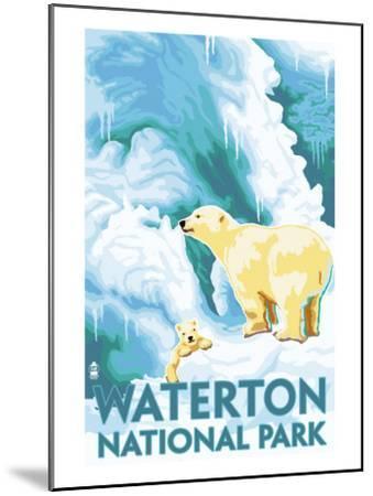 Waterton National Park, Canada - Polar Bear & Cub-Lantern Press-Mounted Art Print
