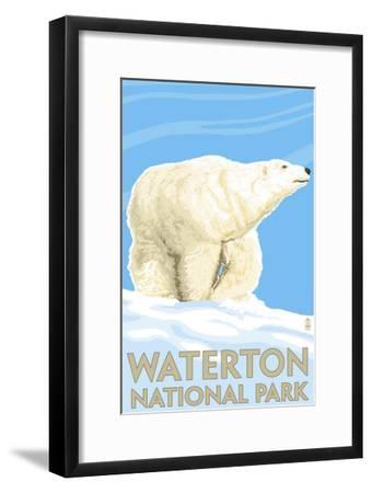 Waterton National Park, Canada - Polar Bear-Lantern Press-Framed Art Print